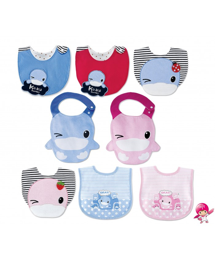 KU.KU Duckbill Baby Toddler Shoulder Burp Bib 100% Pure Cotton Soft and Absorbent Drool Teething Snap Button Closure