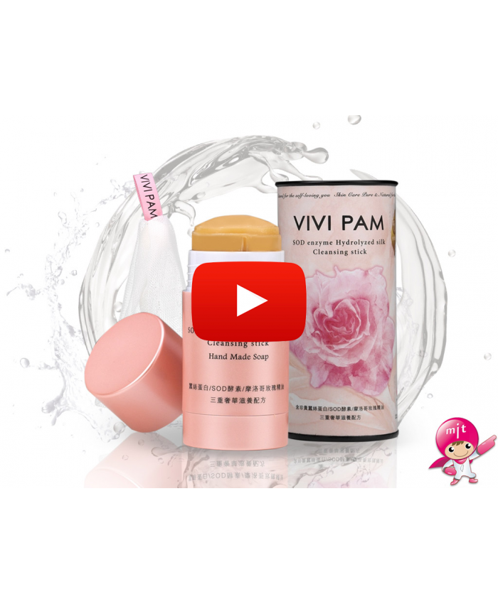 VIVI PAM SOD Enzyme Hydrolyzed Silk Cleansing Stick (Bubble Foaming Net x1), 2.3 Ounce, Alkali-free, Preservatives-free, Compound essence-free, Synthetic surfactants-free, Harmful chemical-free