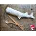 Dye-Free Portable Utensils, Reusable Wooden Bamboo Spoon Chopsticks Set Bag Travel 100% Cotton Pouch, Hovering whale Eco-Friendly