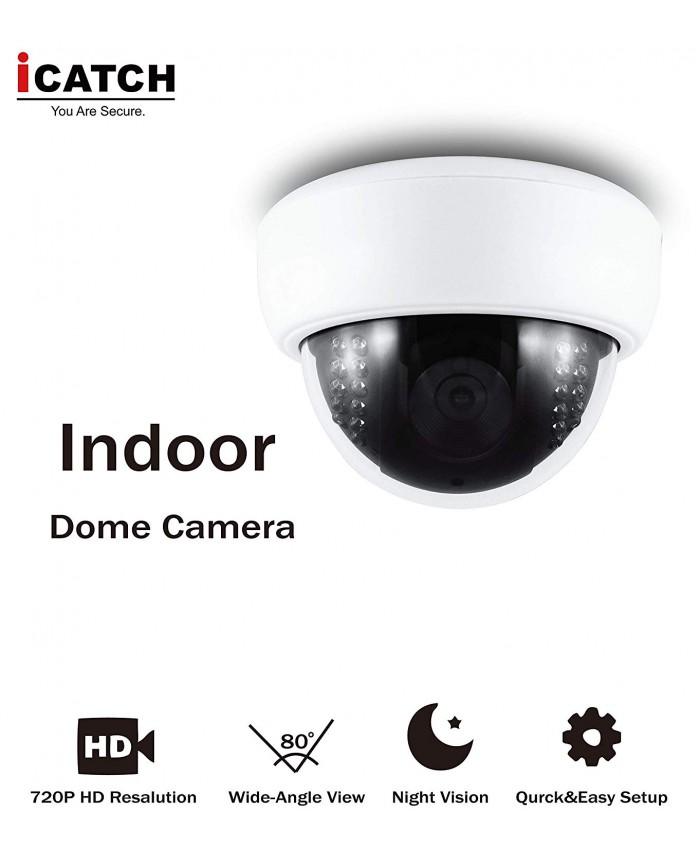 iCATCH Indoor Smart Surveillance Camera with Night Vision,HD-SDI, 720P Home Security Camera for Pet Baby Monitor