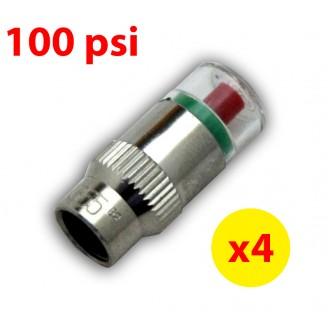 4PCS 100psi TPMS Tire Pressure Monitor Valve Stem Cap Tyre Sensor Indicator